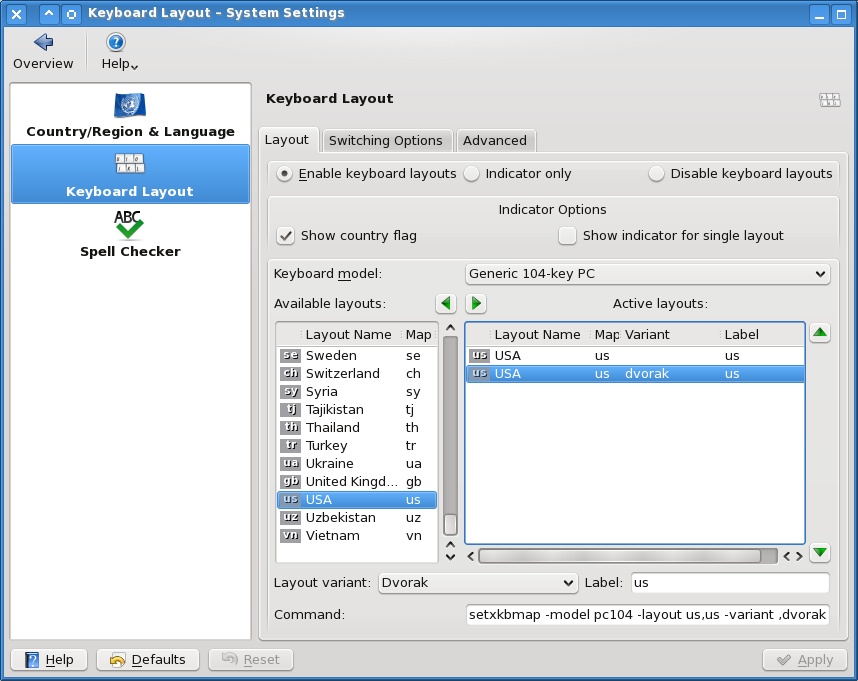 Picture of the KDE Keyboard Settings Dialog